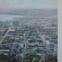"""""""Samtida stad"""" Oil on linen 40 x 60 cm"""