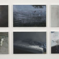 """Samtid / Our living"" Oil on linen, six paintings in a group, each 40 x 60 cm"