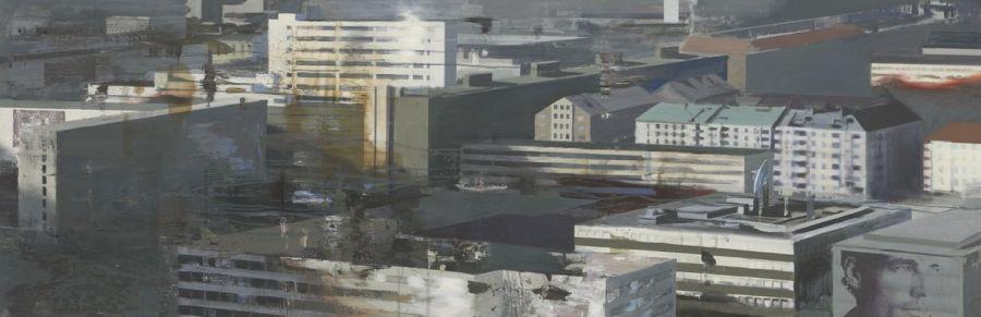 """""""Staden / The city"""" Oil on linen 65 x 200 cm"""