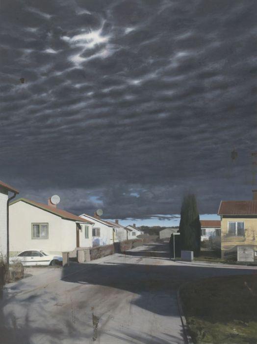 """""""Skuggorna faller alltid från höger / The shadows always fall from the right"""" Oil on linen 180 x 135 cm"""